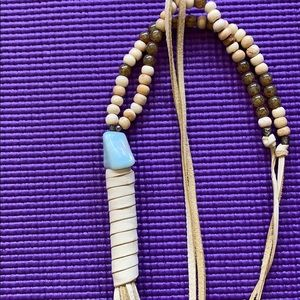 Jewelry - Cream leather necklace with semi-precious beads